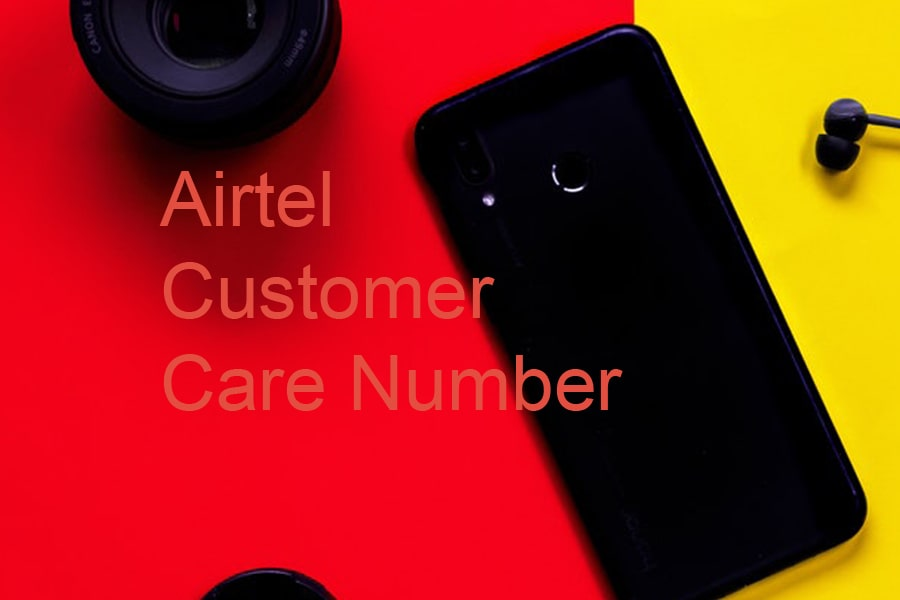 "airtel customer care number article cover image. It shows red and yellow background with a black mobile phone image. Along with text written ""airtel customer care number"""